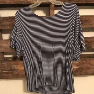 short sleeve striped navy and white shirt